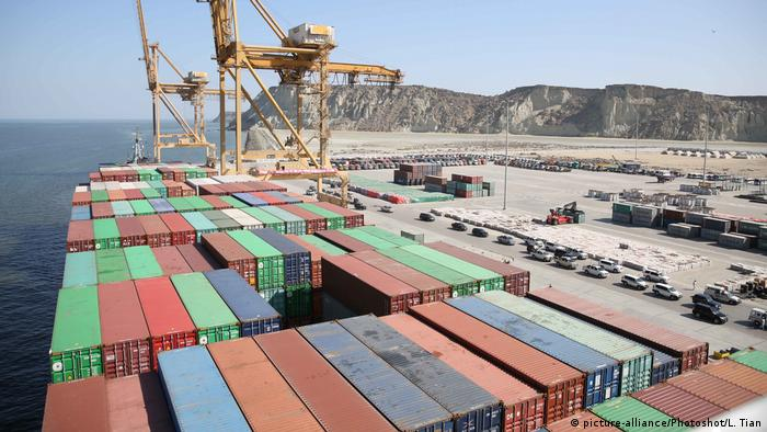 The COSCO Wellington cargo vessel with containers is moored at a port in Gwadar