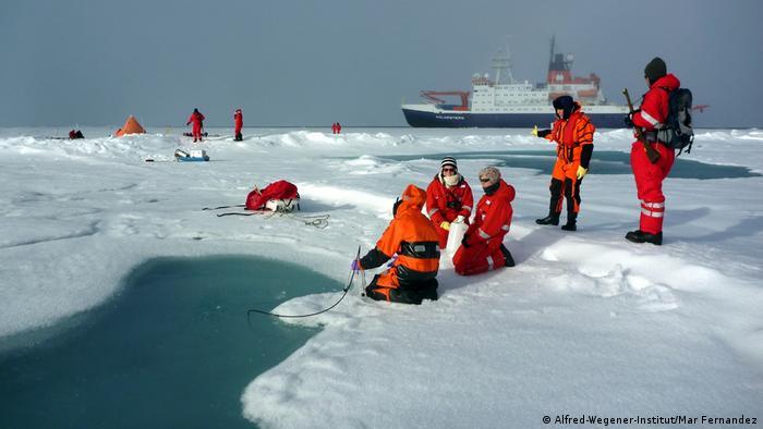 Mitarbeiter des Alfred-Wegener-Instituts entnehmen Proben in der Arktis (Alfred-Wegener-Institut/Mar Fernandez)