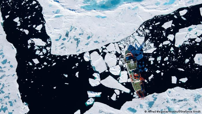 Research ship Polarstern as seen from above