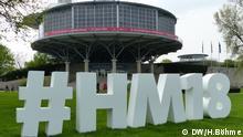 Beschreibung: Hashtag zur Hannover Messe / Aussenansicht Messegelände Aufnahme: Hannover 22.4.2018 Copyright: DW/H.Böhme Schlagwort Hannover Messe 2018