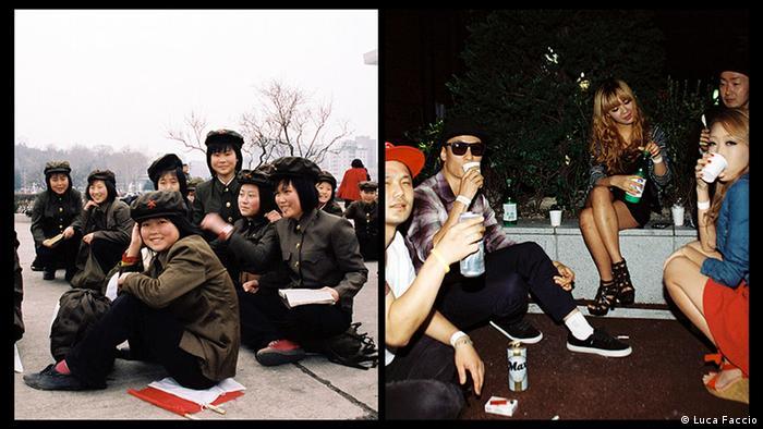 Группы молодых людей в КНДР и Южной Корее
