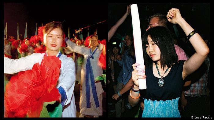 Танцующие люди в КНДР и Южной Корее