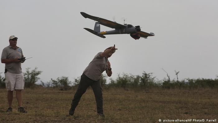 A drone in a Zimbabwe game reserve