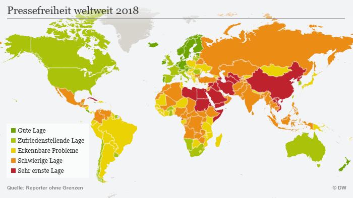 (Sperrfrist: 25.04.18/06:00) Infografik Karte Pressefreiheit weltweit 2018 DEU