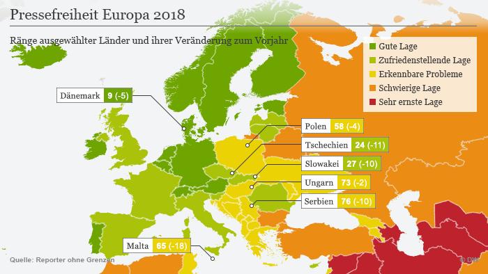 (Sperrfrist: 25.04.18/06:00) Infografik Karte Pressefreiheit Europa 2018 DEU