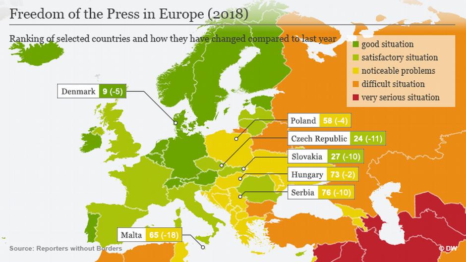 (Sperrfrist: 25.04.18/06:00) Infografik Karte Pressefreiheit Europa 2018 ENG