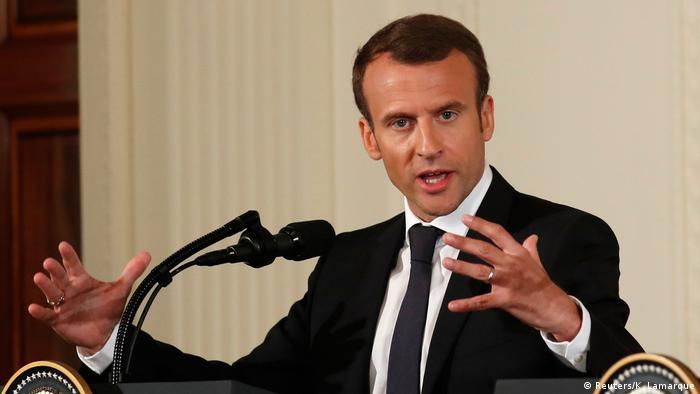 USA PK US-Präsident Trump und französicher Präsident Macron in Washington (Reuters / K. Lamarque)