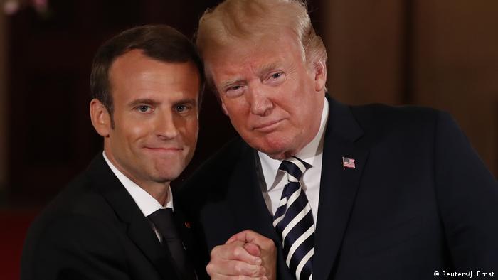 Fransa Cumhurbaşkanı Macron (solda) ve ABD Başkanı Trump'ı Beyaz Saray'da görüşüyor