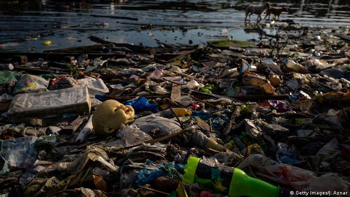 Plastikmüll stapelt sich an einem Strand. Im Hintergrund laufen Tiere. (Foto: Getty Images)