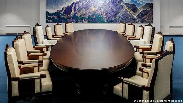The meeting room for the North-South Korea meeting at the border