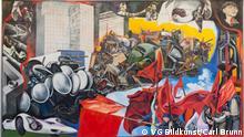 Ausstellung Flashes of the Future Renato Guttuso, Maggio 1968 - Giornale Murale [Mai 1968 - Wandzeitung], 1968, Öl auf Karton und Leinwand, 280 x 480 cm, Ludwig Forum für Internationale Kunst, Aachen, © VG Bildkunst, Bonn 2017, Foto: Carl Brunn.