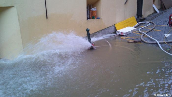 Photo: Flood waters on a street in Melk, Austria (Source: Herwig Türk)