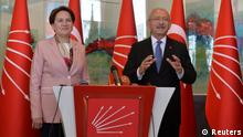 25.04.2018 *** Kemal Kilicdaroglu, the leader fo the main opposition Republican People's Party (CHP), and Iyi Party leader Meral Aksener hold a joint news conference in Ankara, Turkey April 25, 2018. REUTERS/Stringer NO RESALES. NO ARCHIVES