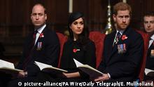 Prince William, Meghan Markle and Prinz Harry (picture-alliance/PA Wire/Daily Telegraph/E. Mullholland)