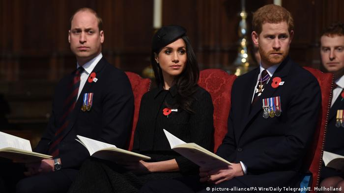 Prince William, Meghan Markle and Prince Harry (picture-alliance/PA Wire/Daily Telegraph/E. Mullholland)