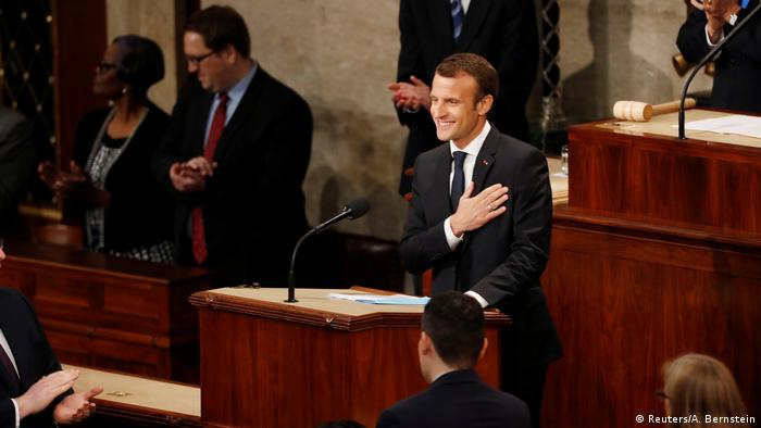 French President Emmanuel Macron being welcomed with applause before addressing a joint meeting of the US Congress