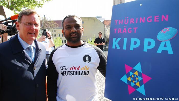 Deutschland Demonstration gegen Antisemitismus in Erfurt, Thüringen | Ramelow & Mailk Mohamed Suleman