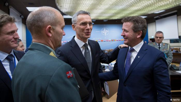NATO Secretary General Jens Stoltenberg meets Iceland's Foreign Minister Gudlaugur Thor Thordarson at NATO headquarters