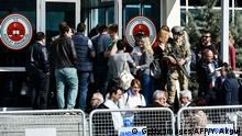 People gather outside the courthouse during the Cumhuriyet trial (Getty Images/AFP/Y. Akgul)