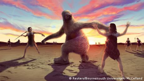 A prehistoric man tries to throw a spear at a giant sloth as others distract him against a backdrop of the setting sun (Reuters/Bournemouth University/A. McCelland)