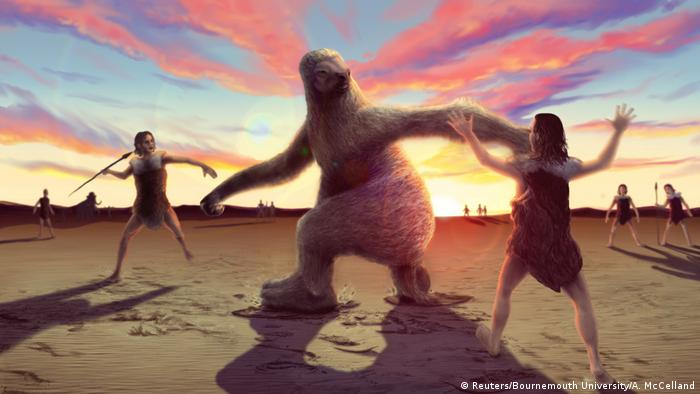 A prehistoric man tries to throw a spear at a giant sloth as others distract him against a backdrop of the setting sun