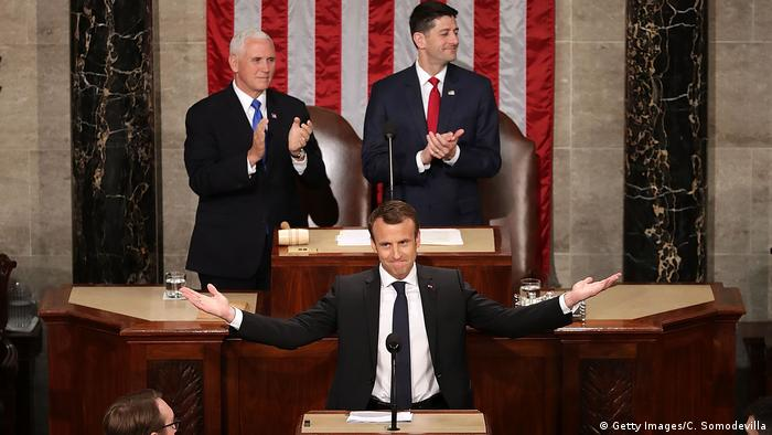USA Capitol Hill in Washington | Emmanuel Macron, Präsident Frankreich (Getty Images/C. Somodevilla)