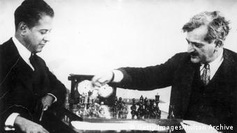 Emanuel Lasker Schachweltmeister und Jose Raul Capablanca