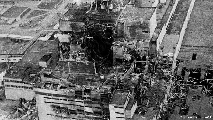 An aerial view of the Chernobyl nucler power plant in April 1986, made two to three days after the explosion in Ukraine