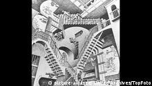 Relativity Lithograph by M.C. Escher - 1953 Germany / Mono Print  