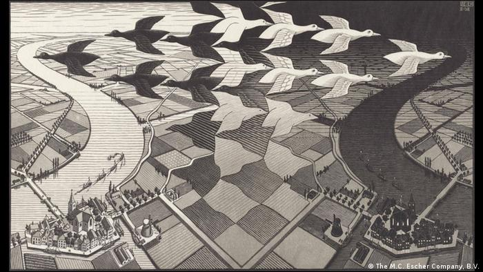 The Escher Woodcut 'Day and Night' shows migrating birds over a river landscape Photo: M.C. Escher Company