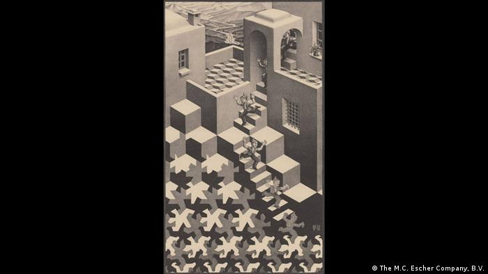 People are seen tumbling down stairways in 'Day and Night' Photo: M.C. Escher Company
