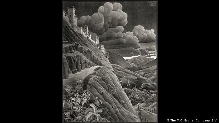 'Castrovalva' by M.C. Escher shows a cliff-side village in Italy Photo: M.C. Escher Company