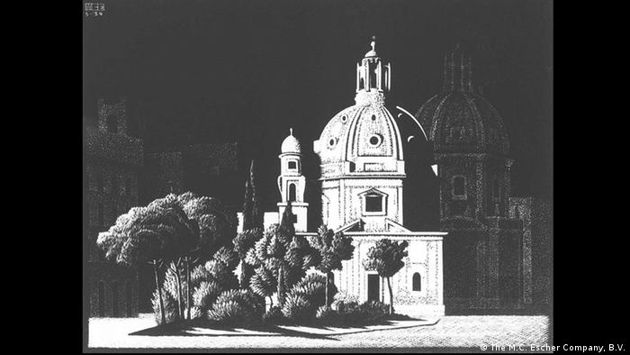 'Nocturnal Rome: Small Churches, Piazza Venezia' by M.C. Escher is a black and white sketch of a church building lit by moon light Photo: M.C. Escher Company