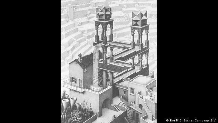 A sketch of a tall building that appears like a maze (The M.C. Escher Company, B.V.)