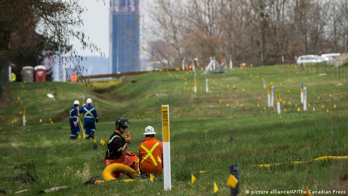 Work on the Trans Mountain pipeline in Canada