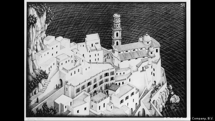 Sketch of a white cliffside village (The M.C. Escher Company, B.V.)