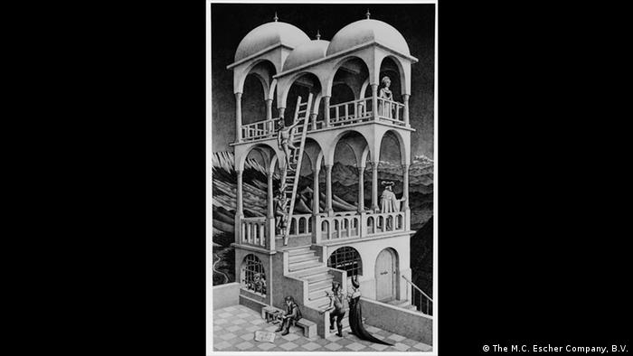 'Belvedere' depicts a strange looking lookout tower with staircase and queen ascending (Photo: The M.C. Escher Company, B.V.)