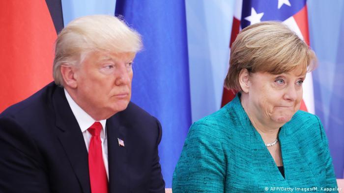 Bundeskanzlerin Merkel mit US-Präsident Trump (AFP/Getty Images/M. Kappeler)