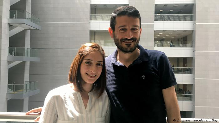 Mesale Tolu and her husband Suat Corlu in court in Istanbul