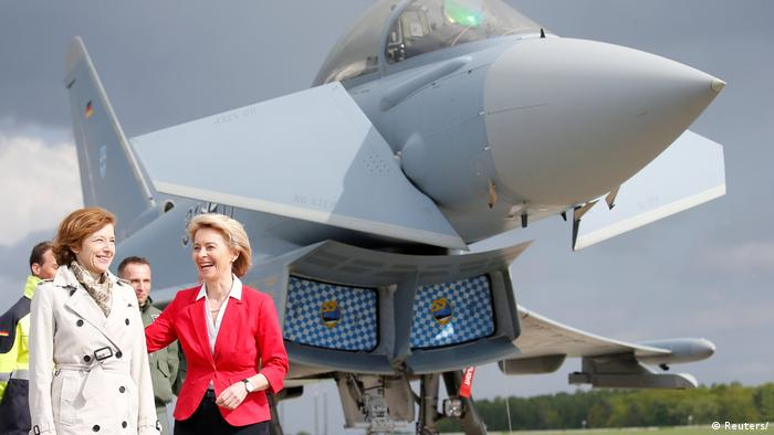 French Armed Forces Minister Florence Parly with German Defense Minister Ursula von der Leyen at the ILA Air Show in Berlin