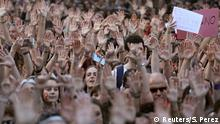 26.04.2018+++ People shout slogans during a protest outside Ministry of Justice after a Spanish court condemned five men accused of the group rape of an 18-year-old woman at the 2016 San Fermin bull running festival to nine years in prison each for the lesser crime of sexual abuse in Madrid, Spain, April 26, 2018. REUTERS/Sergio Perez