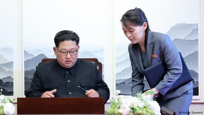 North Korean leader Kim Jong Un and his sister Kim Yo Jong at the inter-Korean summit