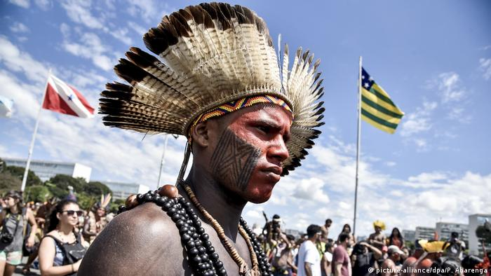 Indigenous Brazilians protest for land rights in Brazil