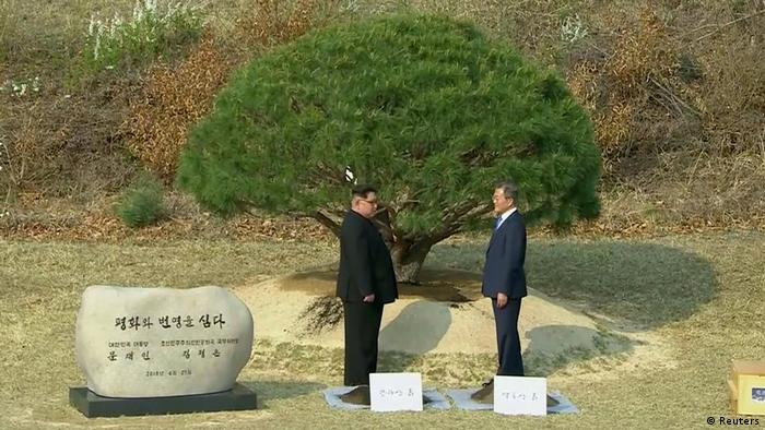 Kim Jong Un and Moon Jae-in face each other during a tree-planting ceremony (Reuters)