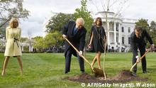 Macron und Trump pflanzen Baum