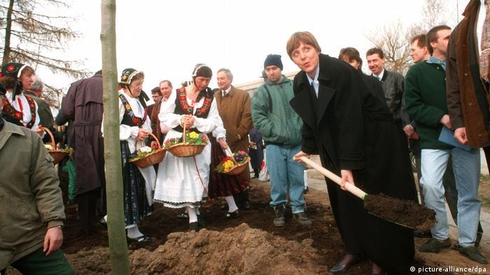 Merkel planting a tree