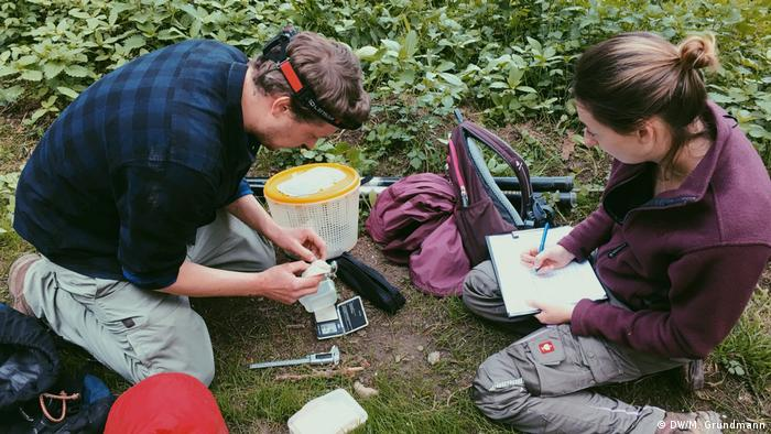 Researchers Martin Koch and Thalia Jentke collect data on bats in the Seig estuary