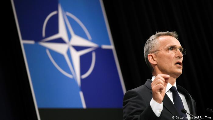NATO Secretary General Jens Stoltenberg speaks during a press conference during a Foreign ministers meeting at the NATO headquarters in Brussels
