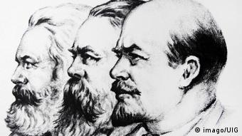200. Geburtstag Karl Marx   Konterfeis von Marx, Engels und Lenin
