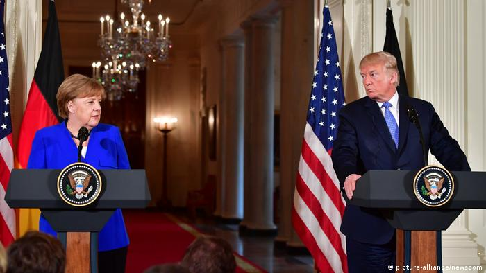 USA Washington | Präsident Donald Trump & Angela Merkel, Bundeskanzlerin (picture-alliance/newscom)